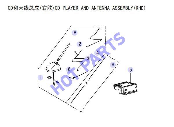 CD PLAYER AND ANTENNA ASSEMBLY(RHD)